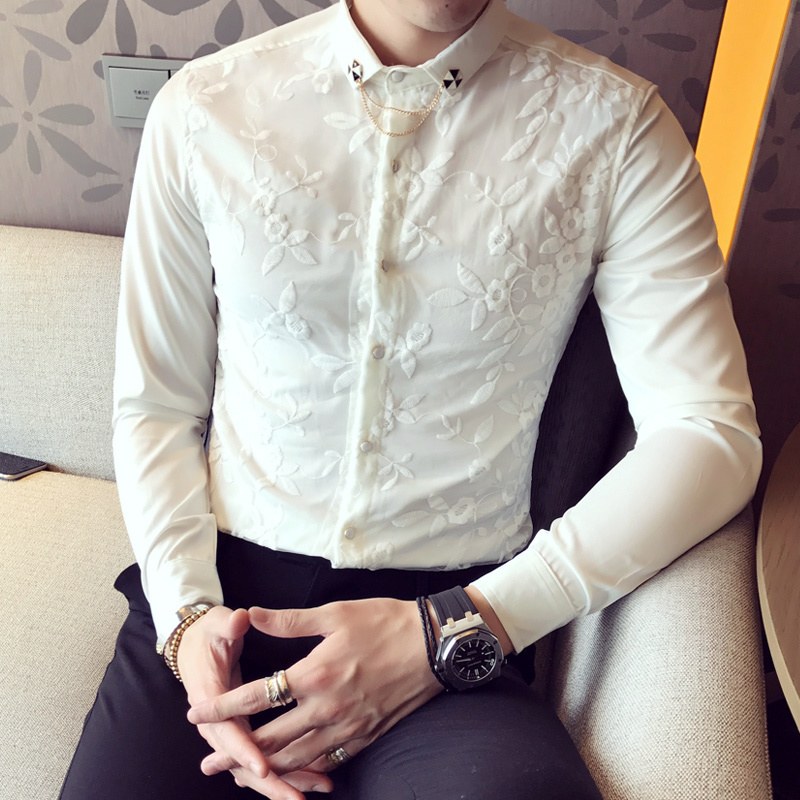 Double layer lace shirt men 2017 new embroidery male shirt for Men s wedding dress shirts