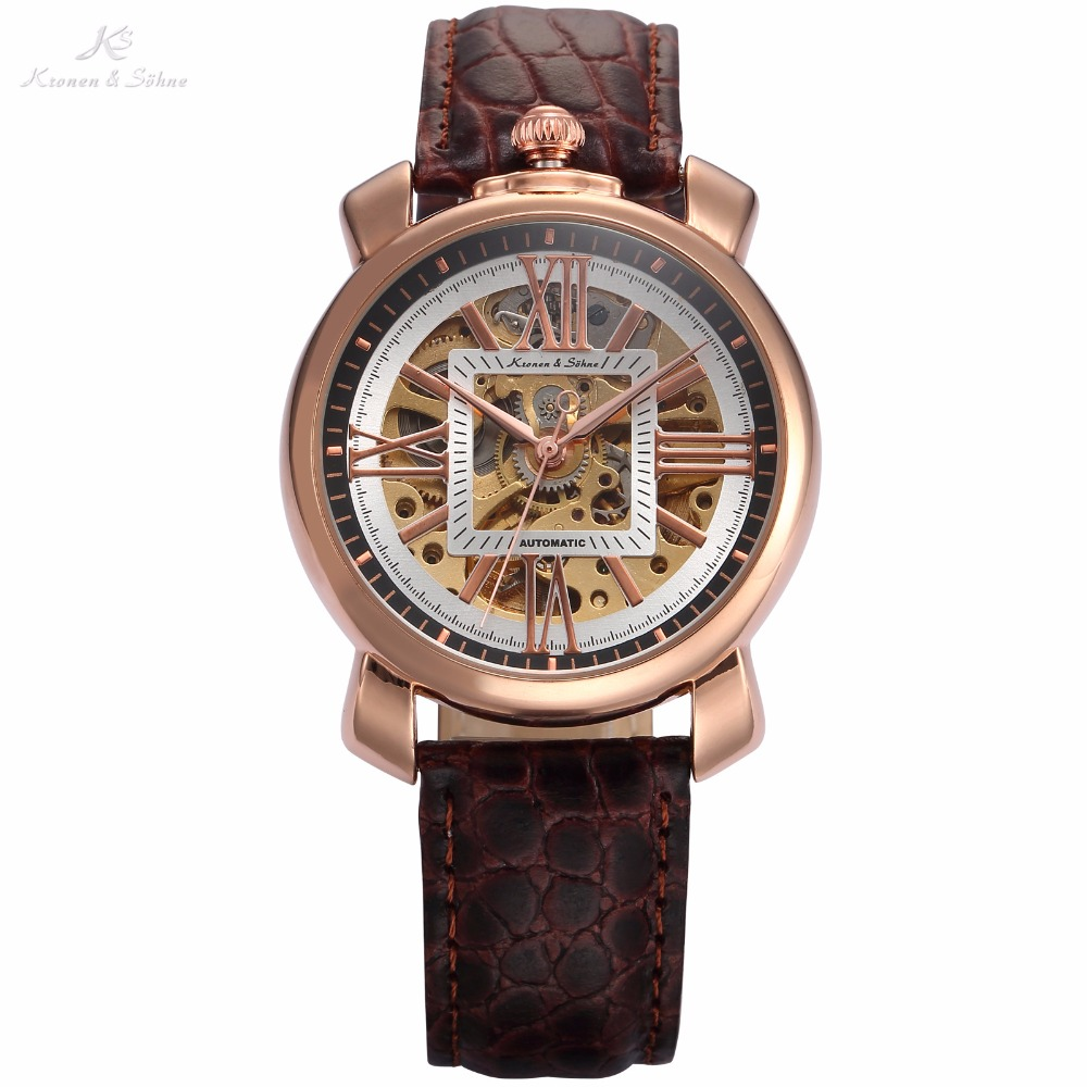 Royal Carving KS Rose Gold Skeleton Automatic Self Wind Wristwatch Male Fashion Clock Leather Strap Mechanical Watch Gift /KS294 k colouring women ladies automatic self wind watch hollow skeleton mechanical wristwatch for gift box
