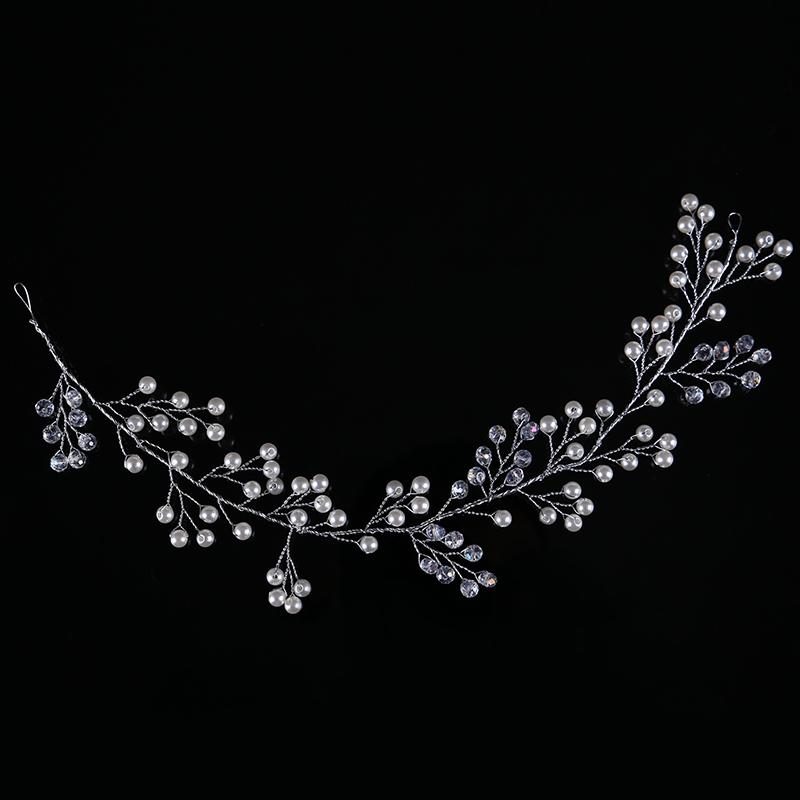 Trendy Silver Pearl Headbands Wedding tiara 32cm Crystal Headband Bridal Hair Accessories Head Jewelry Wedding Hair Accessories 4