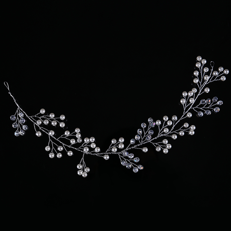 Trendy Silver Pearl Headbands Wedding tiara 32cm Crystal Headband Bridal Hair Accessories Head Jewelry Wedding Hair Accessories 4