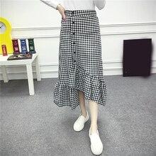 Check Gingham Midi Skirt Women Black White Plaid Long Skirts Ruffled Female Spring Summer Skirt Fashion High Waist Skirt contrast gingham waist mesh overlay skirt