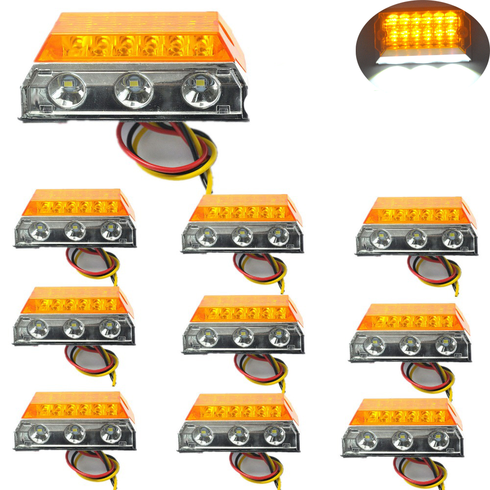 10 pcs Car LED Clearance Lights Side Marker Lamps for Automobiles Truck Trailer Caravan 24V HEHEMM cyan soil bay 10pcs 3led amber waterproof side marker lights clearance lamp trailer truck bus car 3 led 12v 24v