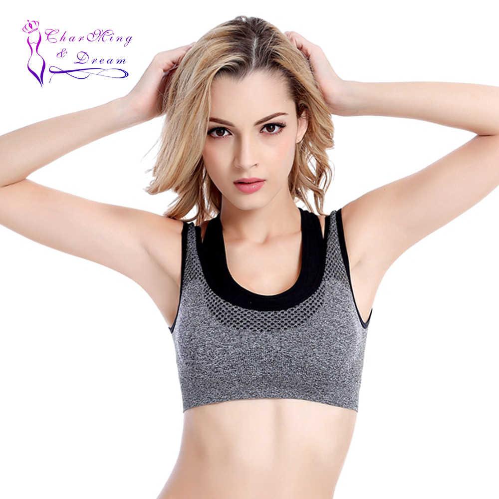 2017 NOVA Charme & Dream Para Falso Duas Peças das Mulheres Sem Costura Empurrar Para Cima Reunir Em Execução De Fitness Yoga Cueca À Prova de Choque bra esporte