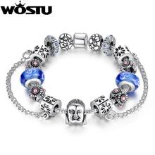 Wostu plata encanto diy pulsera de alta calidad de cristal de murano granos de los encantos de la joyería pulseira sdp1842