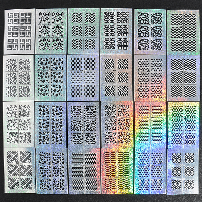 24 Sheet/sets DIY Nail Vinyls 24 different syles Hollow Irregular Stencils Stamp Nail Art tool DIY Manicure Sticker Laser Silver 3 designs in 1 sheet laser vinyls nail hollow sticker gold grid irregular patterns tips tool for nail art stencil manicure sa350