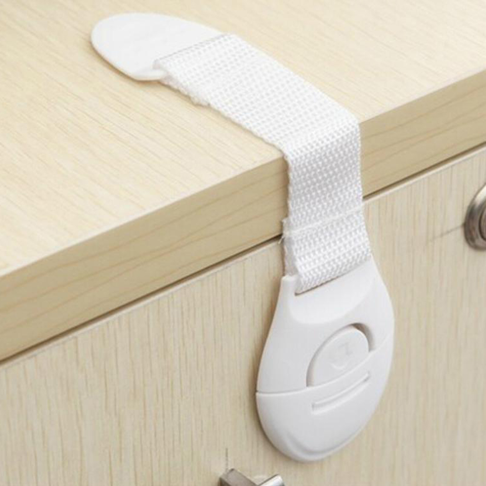 10pcs/lot Baby Kids Safety Locks Lengthen Drawer Door Cabinet Cupboard Strap Safety Locks Plastic Children Protection Care Locks