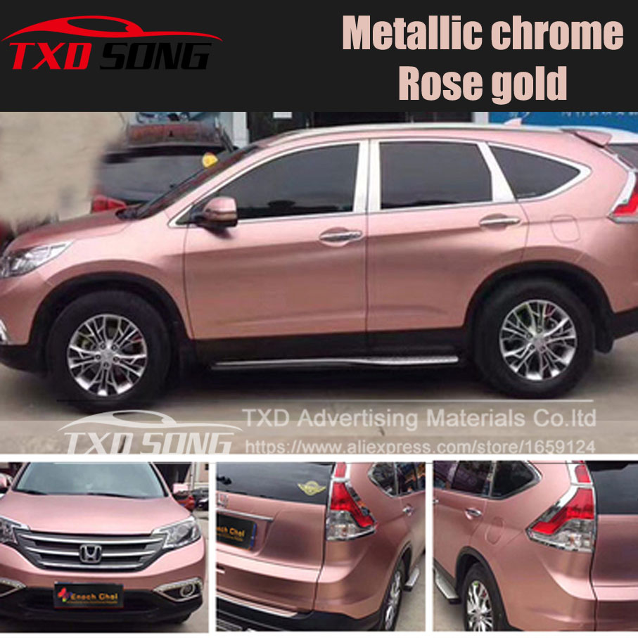 Rose Gold Car Pearl Metal Satin Matte Metallic Chrome Vinyl Wrap Sticker Film CF