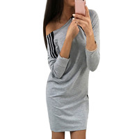 Women Fashion Chic Style Autumn Spring Strapless Zipper Dress Casual Long Sleeve Striped Mini Dresses Vestidos
