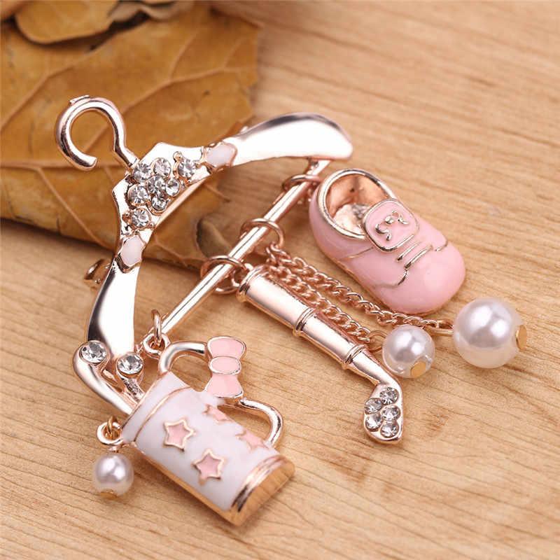 Sevimli askı ayakkabı Golf kulüpleri broş kristal armut çiçek kolye kadınlar için emaye broş Pins moda takı gibi günlük hediye