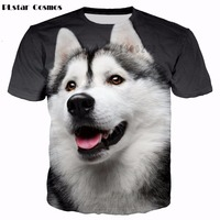 PLstar Cosmos Brand T Shirt Men Husky Dog 3d T Shirt Animal Short Sleeve Casual Tshirt