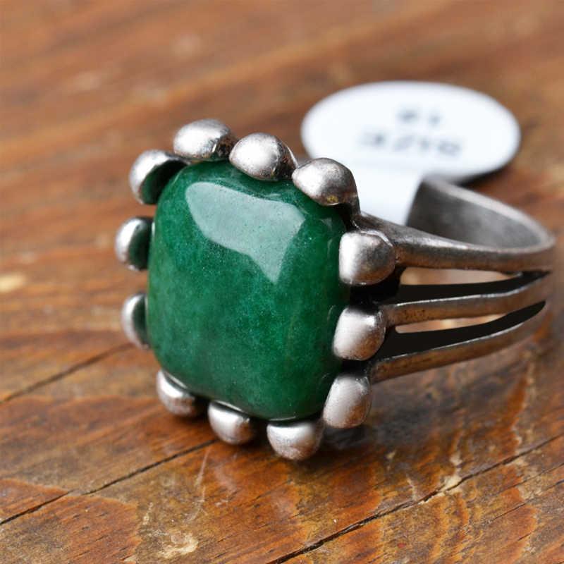 สีเขียวธรรมชาติหยกหินแหวนชุด Punk รูปไข่อินเทอร์เฟซอัญมณีโบราณเงิน 7/8/9 Pick ขนาดสำหรับสุภาพสตรีเครื่องประดับ
