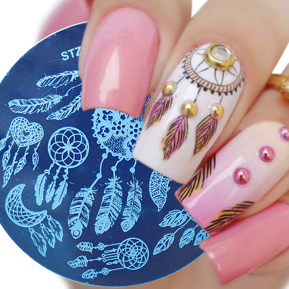 BORN PRETTY Round Stamping Plate Dream Catcher Geometry Feather ...