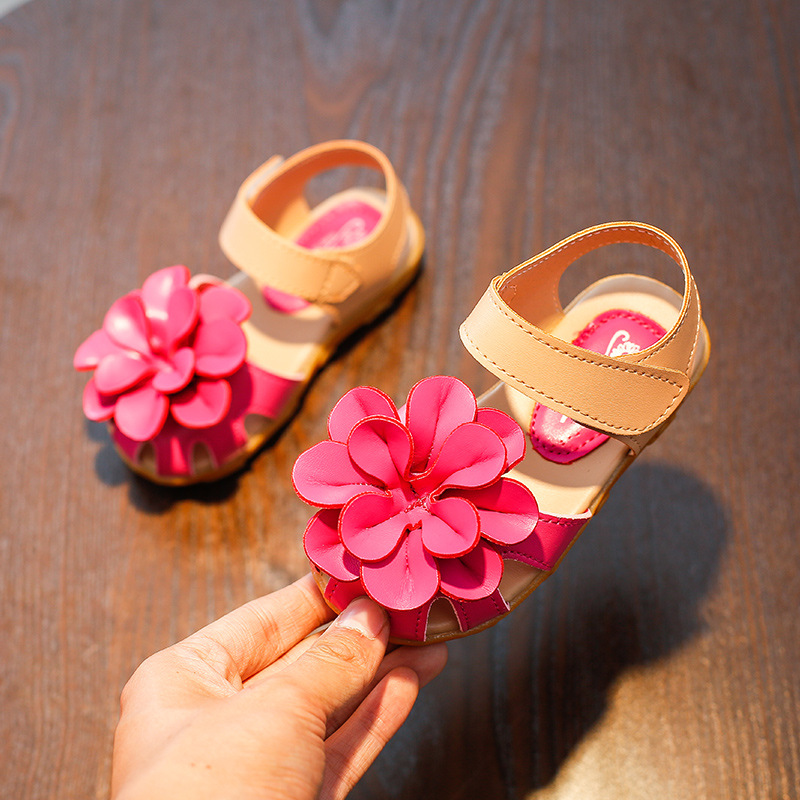 little girl summer sandals Rose red artificial leather dress sandals for girls beach water shoes kids princess sandals girls