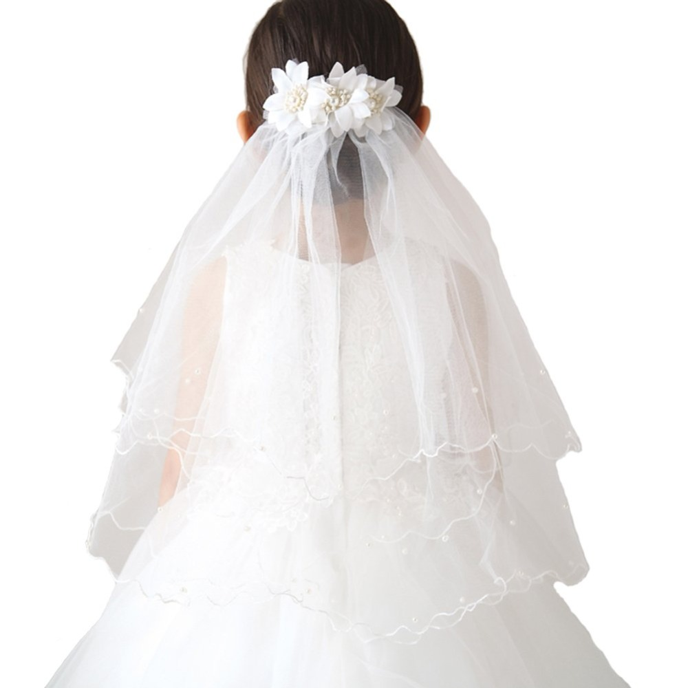 In Stock White/Ivory Flower Girl Veils Two Layers White First Communion Hair Accessories