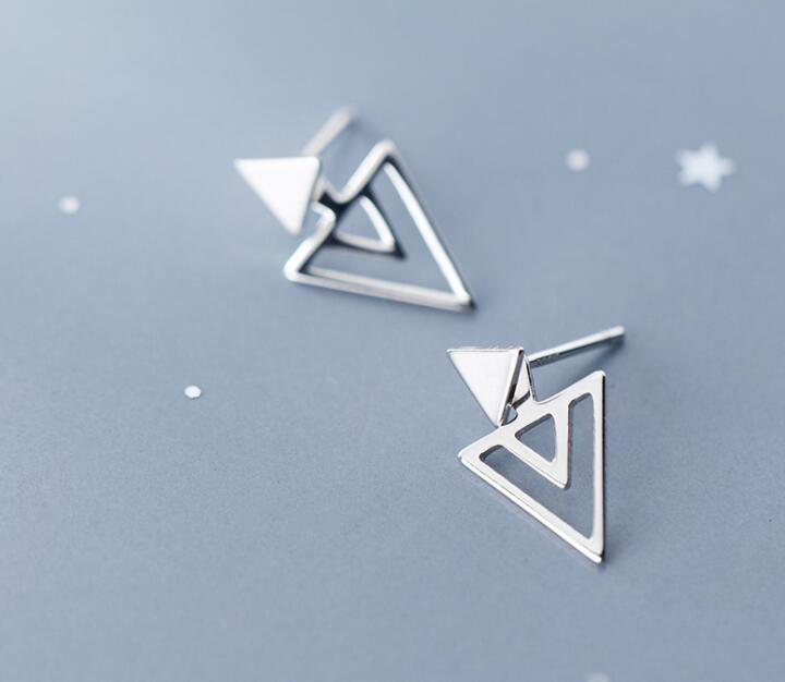 1 Paar Echt. 925 Sterling Silber Schmuck Geometrische Dreieck Stud Ohrringe Schmuck Gtle2643 Moderater Preis