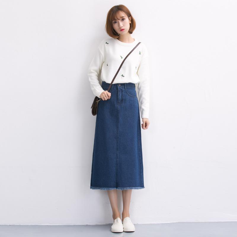 women denim skirt 2017 new style high waist spring autumn winter ...