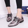 British style women's shoes japanned leather single shoes female flat lacing women's shoes pointed toe black leather