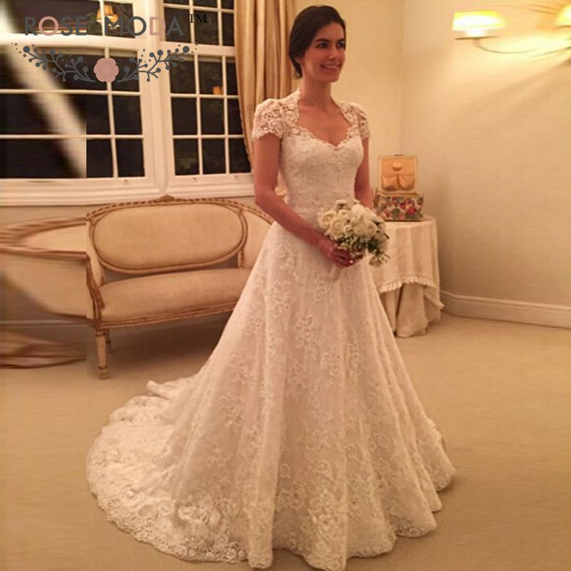 queen anne neckline short sleeves lace a line wedding dress illusion lace back winter bridal gown