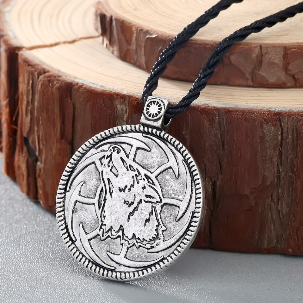 CHENGXUN Wolf Sunwheel Kolovrat Slavic Serbian Symbol Tin PENDANT Necklace Medallion Pagan Slavonic Jewllery Srpski Vuk Rod ...