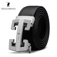WILLIAMPOLO Men Belt Leather 2019 Cowhide Belt H Shape Business Waist Belt Automatic Metal Buckle Belt Black #18295P