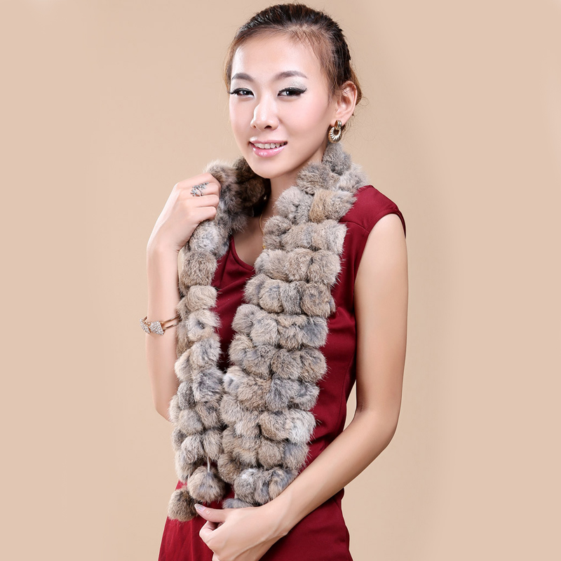2018 Winter Women Genuine Fur Scarf  Real Rex Rabbit Fur Balls Scarves Russia Cute Female Fashion  Warm Fur Scarf Colourful
