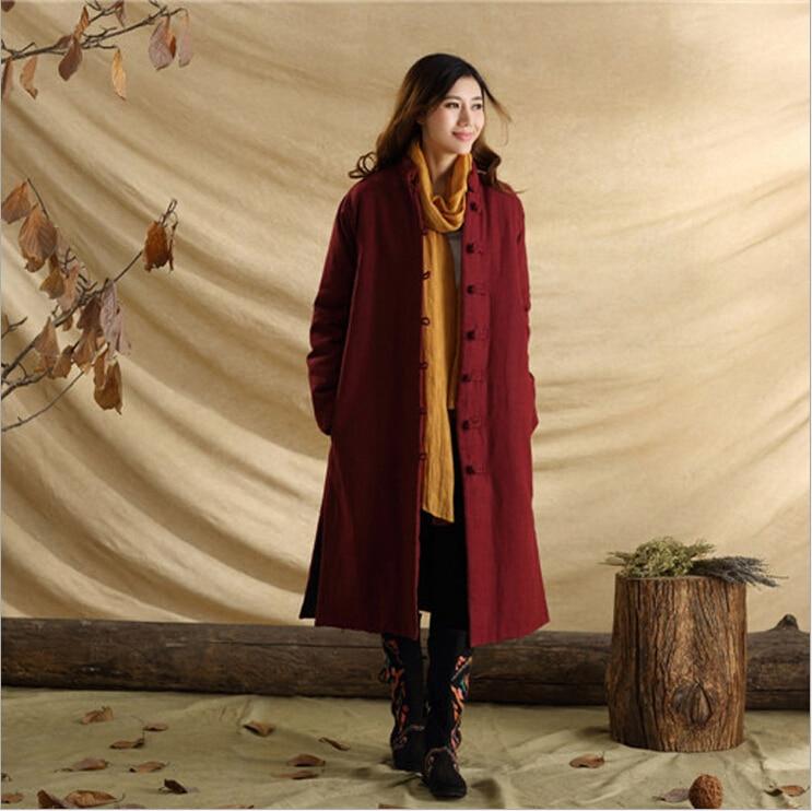 Unisex autumn retro frog pure linen casual personnalit literary long dust coat windbreak wind coat   trench   coat