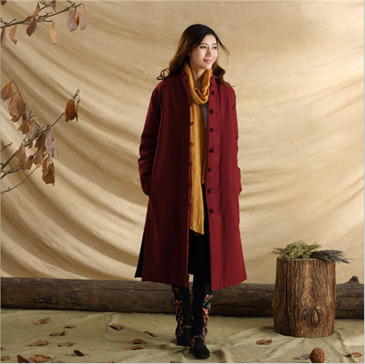 Unisex autumn retro frog pure linen casual personnalit literary long dust coat windbreak wind coat trench