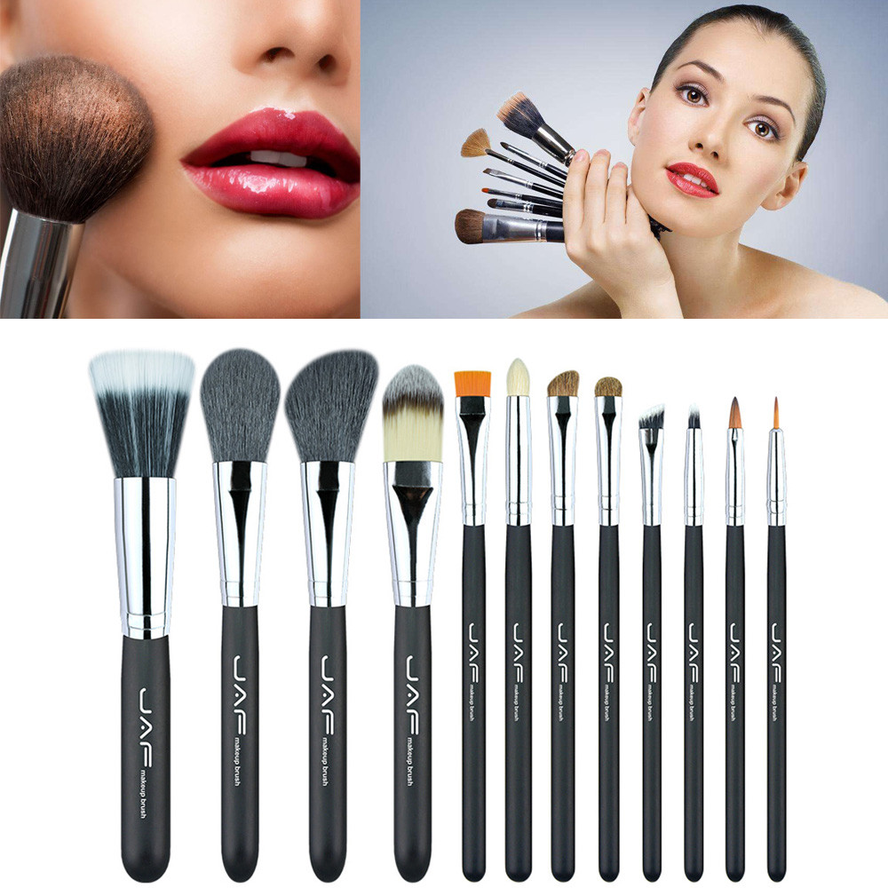 JAF 12pcs Women Professional Face Eye Shadow Eyeliner Eyebrow Foundation Blush Lip Powder Makeup Brush Set With Bag oc13 12pcs professional soft cosmetic face brush finishing powder blush brush sets for women with red cloth bag