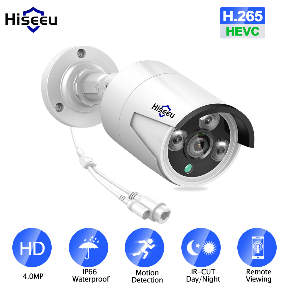 Hiseeu 4MP POE IP Camera Outdoor Waterproof H.265 CCTV Bullet Camera Night Vision P2P Motion Detection ONVIF For PoE NVR