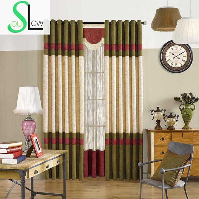 Green Red Curtain Cloth Living Room Bedroom Curtains Striped Blackout  Window For Children Modern Luxury Kitchen