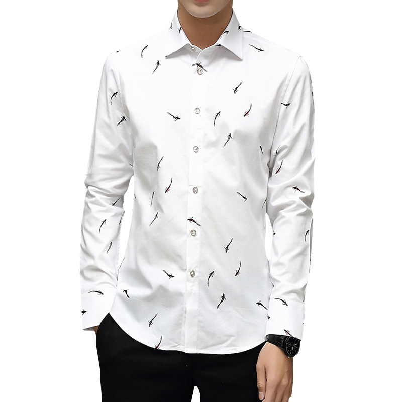 BROWON Brand Luxury Men Shirt Long Sleeve Turn-down Collar Fish Print Party Shirt Big Size 5XL Men Clothes 2019