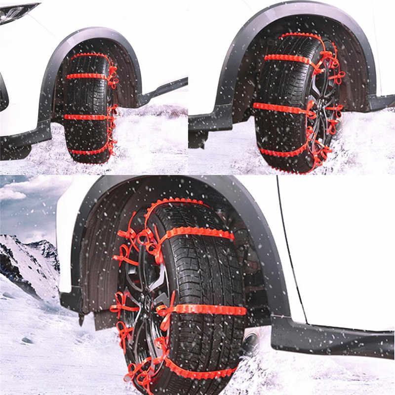 1 قطعة النايلون الأحمر العالمي سيارة الإطارات عجلة الثلوج سلاسل الشتاء عدم الانزلاق Wearproof المضادة للانزلاق سلسلة الطوارئ لشاحنة سيارة SUV MPV