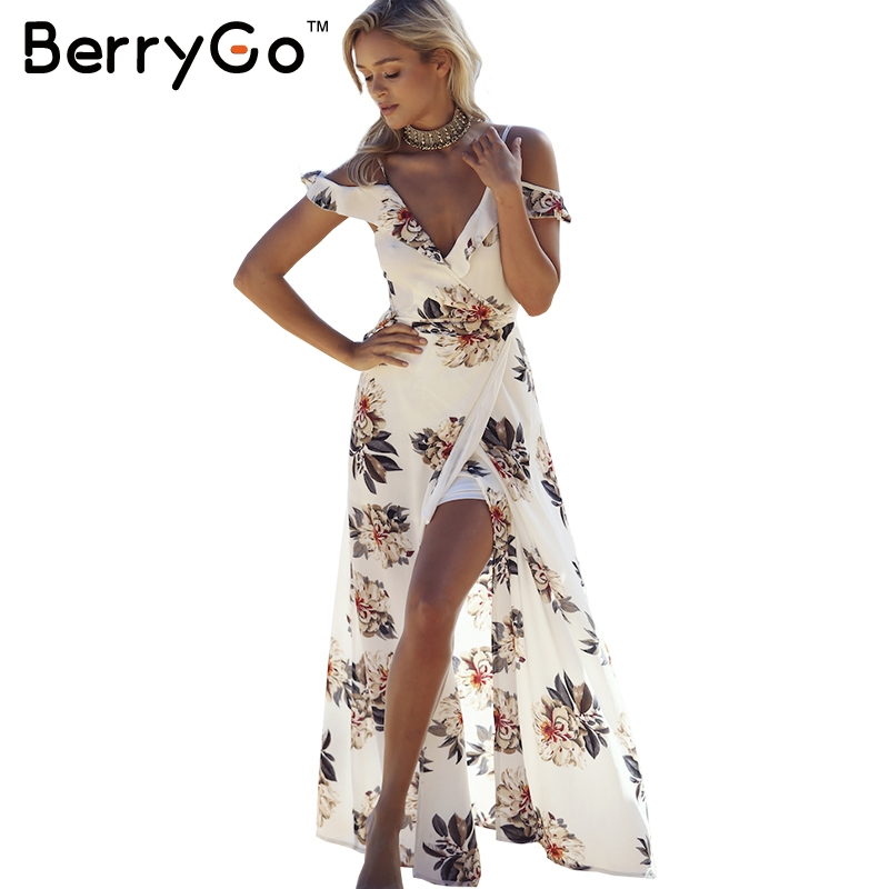 BerryGo Floral print ruffles chiffon maxi dresses Strap v neck split beach summer dress Sexy backless women dress long vestidos