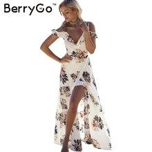 Berrygo цветочным принтом оборками из шифона макси платья ремень V шеи Сплит пляжное летнее платье Сексуальная спинки Женщины платье vestidos