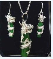 Sıcak satış @> yeşil Doğal taş gümüş plaka ejderha Kolye küpe seti AAA izle Kuvars taş kristal Doğal-Br