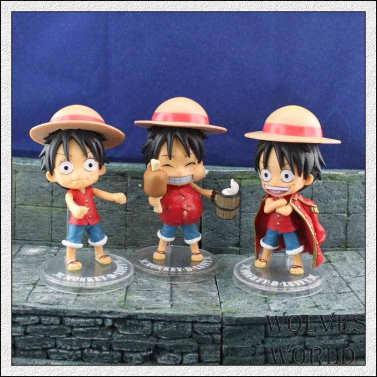 best new hot sale anime one piece Adorable  luffy doll pvc action figure classic collection toy for children 3pcs one set цена 2016