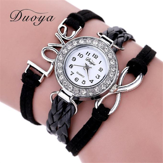 Duoya Brand Watch Women Bracelet 2018 Silver Love Jewelry Weave Leather Quartz W