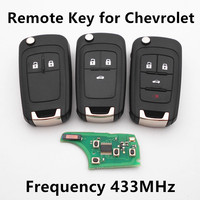 Remote Key 3 Buttons 433MHz ID46 Chip For Chevrolet Cruze Aveo Orlando Flip Car Alarm Keyless
