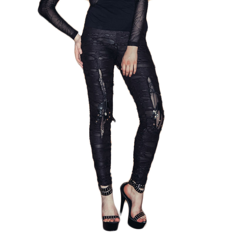 Gothic Steampunk Women's Tight Pants Women's Do Old Skull Hole Pants Trousers For Women Black Long Pants Capris Large Sizes