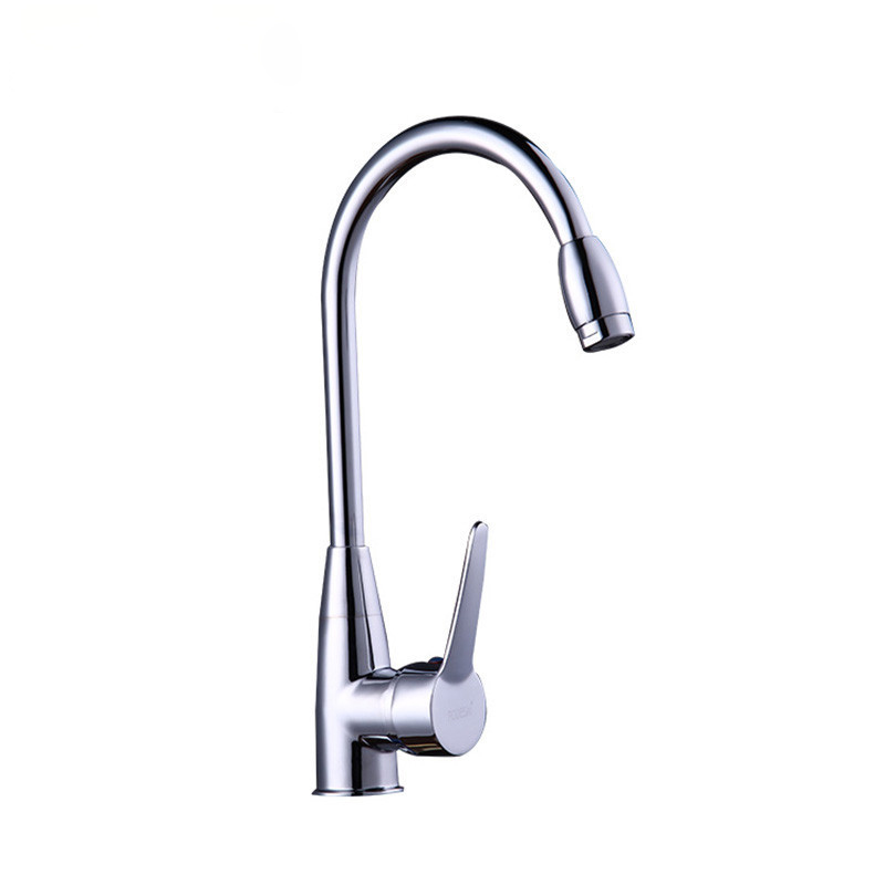 Free shipping Hot selling Polished chrome kitchen faucet with single handle solid brass kitchen sink faucet