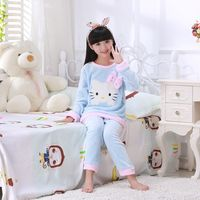 New Children Pajamas Set Autumn Winter Thick Warm Girl Long Sleeve Flannel Coral Down Children S