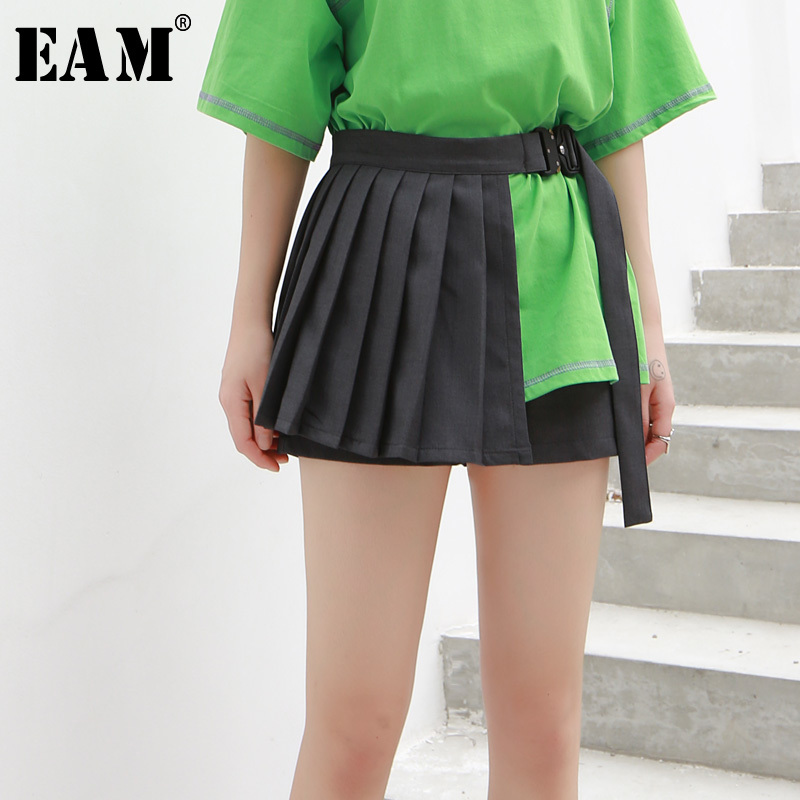 [EAM] 2020 New Spring Summer High Waist Loose Black Pleated Split Joint Buckle Wide Leg Shorts Women Trousers Fashion JU706