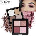 Silky Shimmer Eye Shadow Makeup Warm Color Burgundy Red Eye Shadow 4 Colors Eyeshadow Palette Earth Color Nude Eyes
