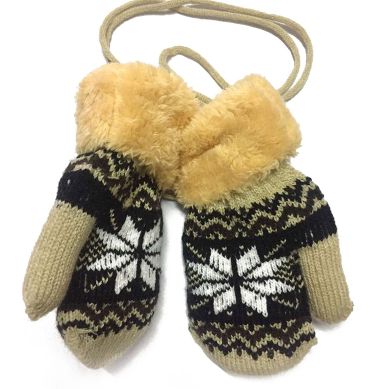 Winter Mittens Soft Warm Fleece Knitted Elastic Thickened Ski Gloves Casual Children Full Finger Gloves Hand Warmer