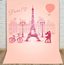 Paris Eiffel Tower Hot Air Balloon Bike Photography Backgrounds portrait cloth Computer printed custom backdrop