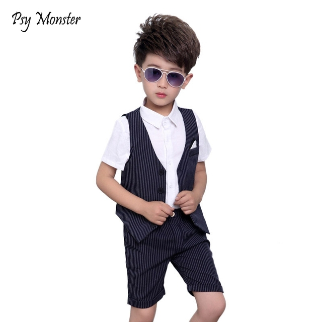 ca238eb25fdc Children Baby Boys Brand Birthday Clothes Tuxedos Wedding Dress Formal Suit  Set Waistcoat Vest Pants Gentleman