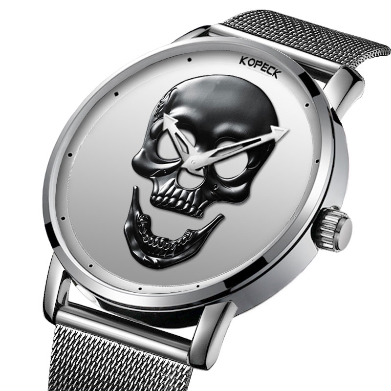 Ultra-Thin 9mm Unique Fashion Men Wrist Watch Milanese Steel Luminous Pointer 30M Waterproof Clock Skull Men's Quartz Watches