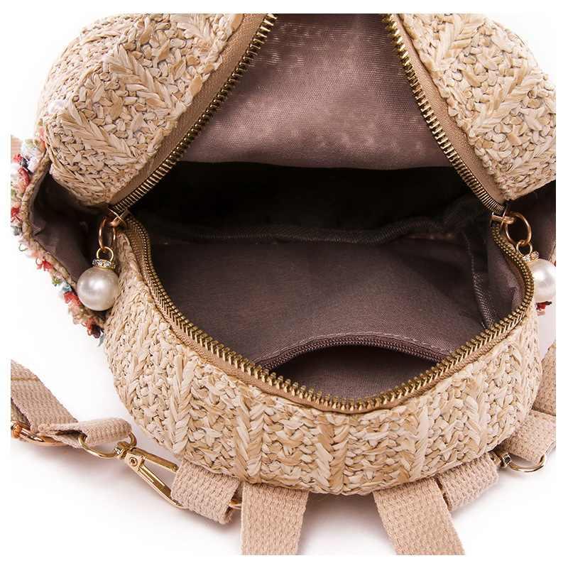 Ansloth Palha Mochilas Mochilas Para Sacos de Mulheres De Verão 2019 Senhora Pérola Pequena Estilo Bohemian Praia Bolsas Femininas Sacos Macios HPS529