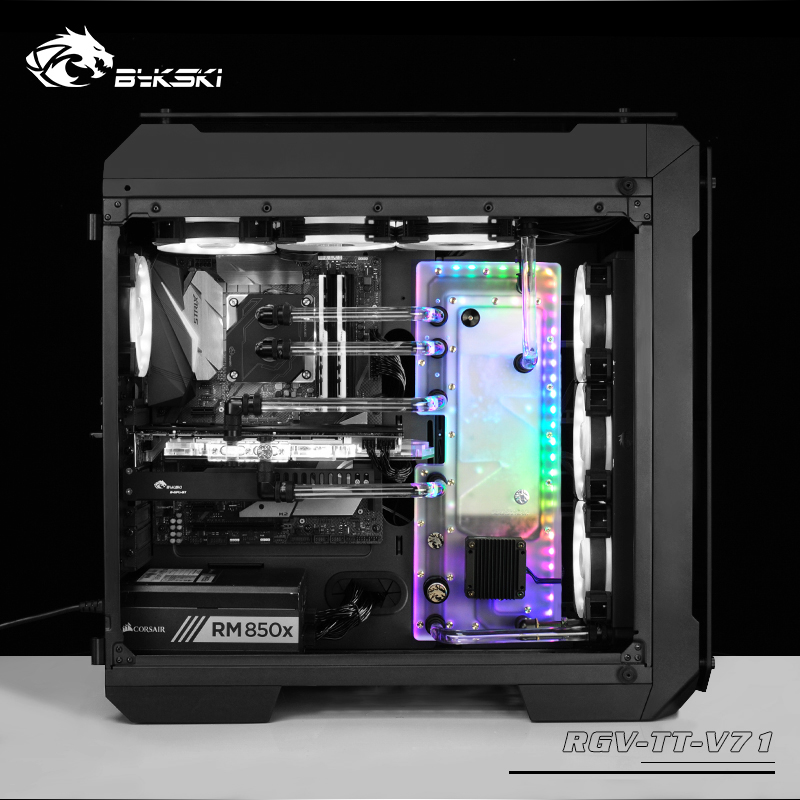 BYKSKI Acrylic Board Water Channel Solution use for ThermalTake Tt V71 for CPU GPU Block 3PIN
