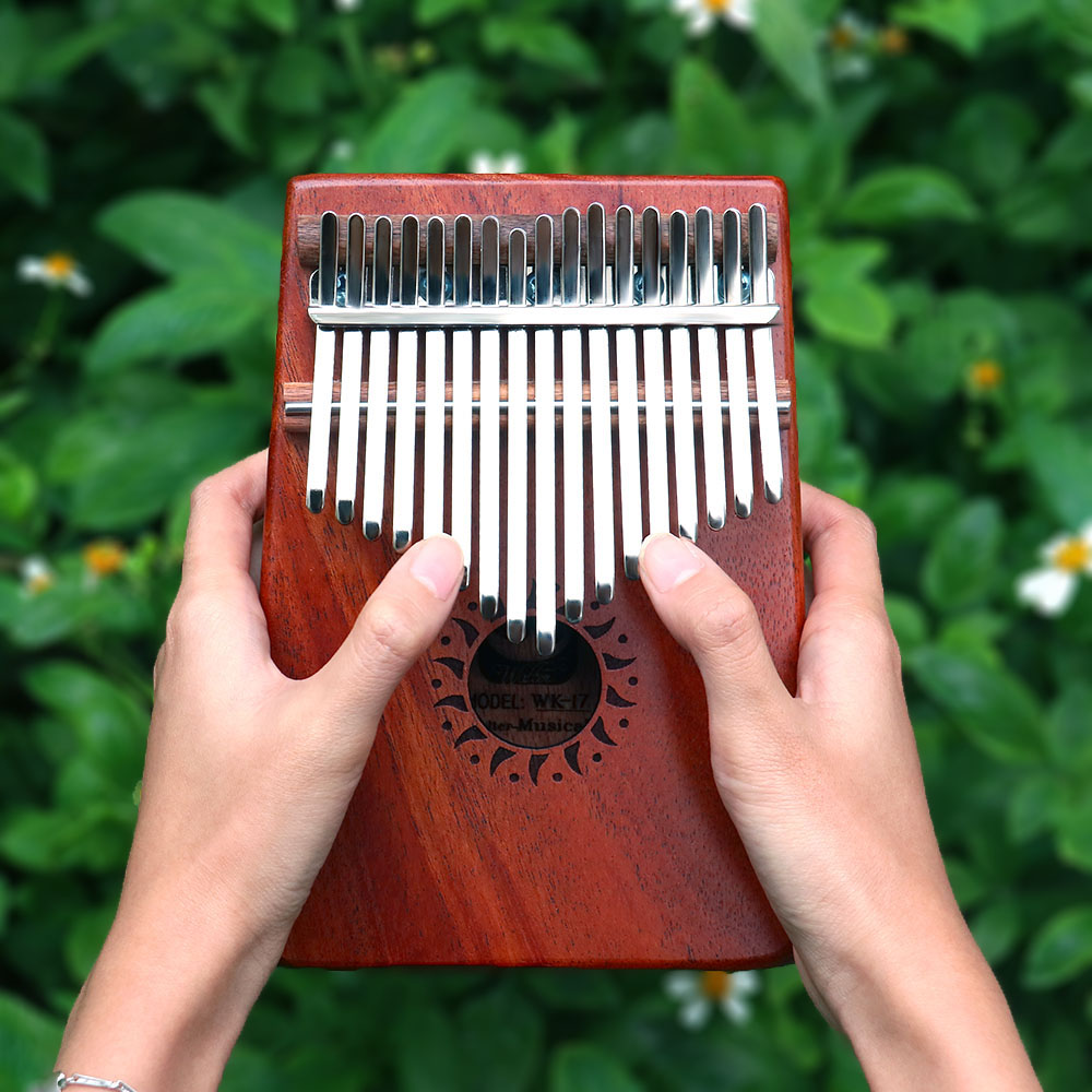 Rahano17 Key the Kalimba Instrument,Pocket Size Finger Percussion Keyboard Lightweight and Portable African mahogany Thumb Piano